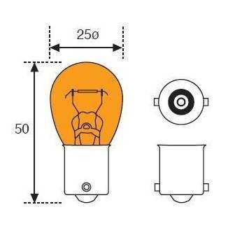 Lámpara Moto Amolux 12v 21w Ambar Ba15s 142a