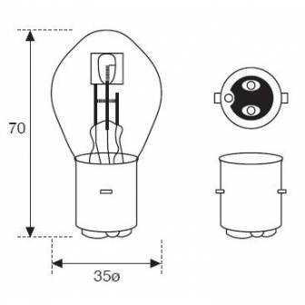 Lámpara Moto Amolux 12v 35/35w Azul Ba20 399mega
