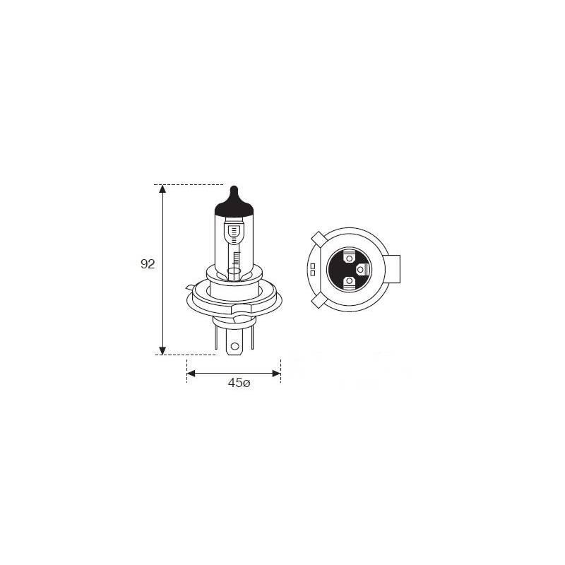 Lámpara Moto Amolux H-4 12v 60/55w +90% 7821exp