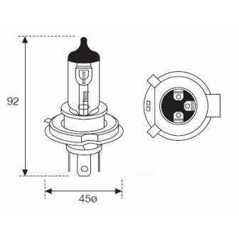 LAMPARA AMOLUX H-4 12V 60/55W Extrem Plus