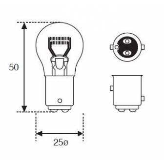 LAMPARA AMOLUX 12V 23/8W STOP BAY15D