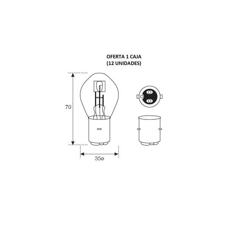 Lámpara Moto Amolux 12v 25/25w Bosch 335