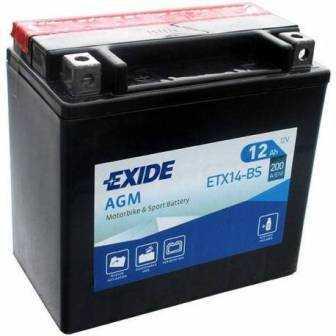 Batería EXIDE para moto modelo ETX14-BS 12V 12Ah