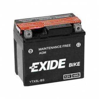 Batería EXIDE para moto modelo ETX5L-BS 12V 4Ah