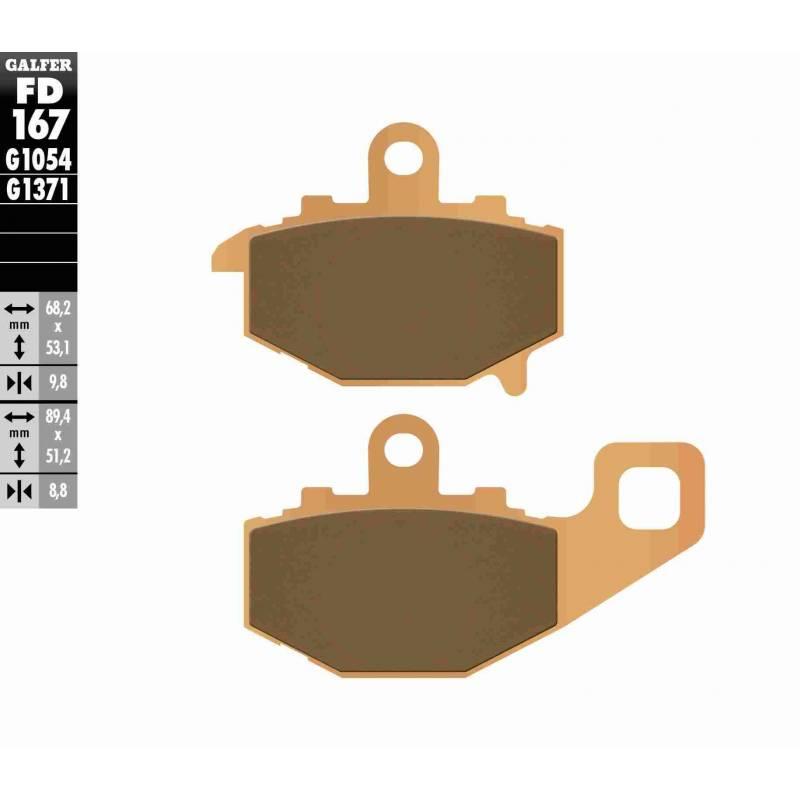 PASTILLAS FRENO GALFER FD167-G1371 MOTO (sinterizado) traseras