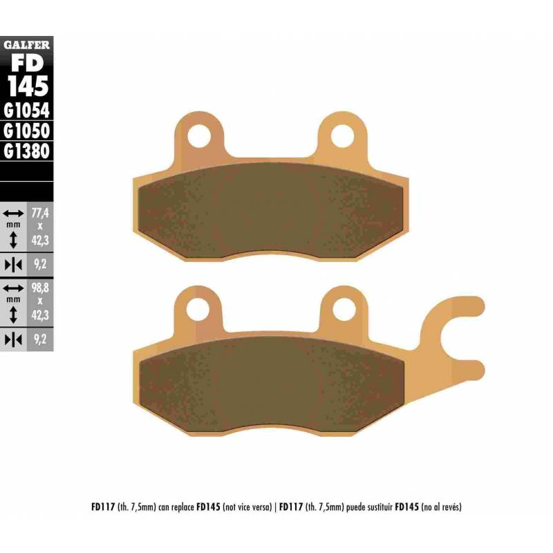 PASTILLAS FRENO GALFER FD145-G1380-83 SCOOTERS (cerámico/metálico)