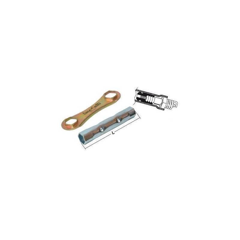Llave de bujía 140 mm hexagonal 16 y 18 con extractor de pipa