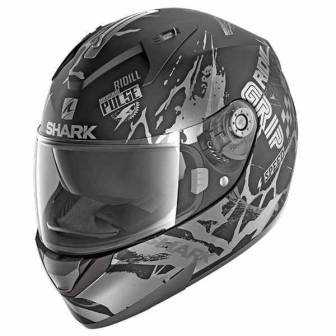 Casco Shark Ridill - Drift-R Mat - Negro Antracita Plata - KAS