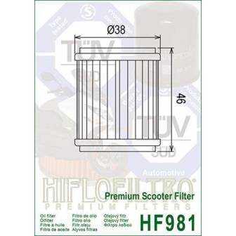 FILTRO ACEITE HIFLOFILTRO HF981
